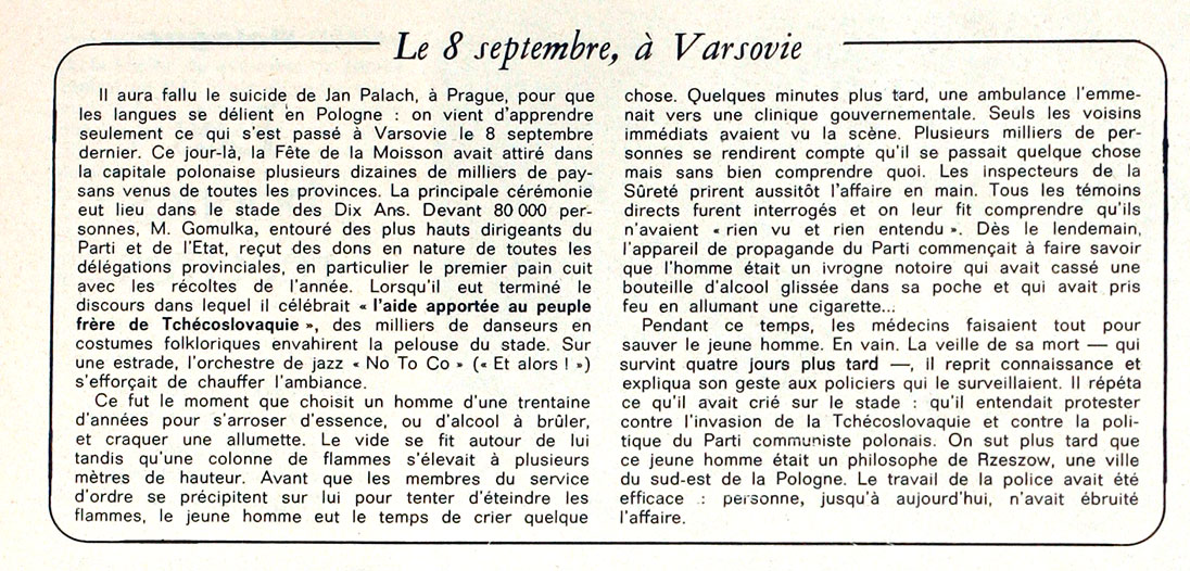 "The cover of the French weekly magazine ""Le Nouvel Observateur"" and a mention of the events from 8th September 1968"