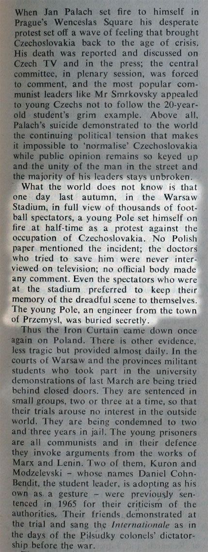 "The front page of the English weekly magazine ""The New Statesman and Nation"" together with an excerpt from the article and a letter doubting the truth about the act of self-immolation"