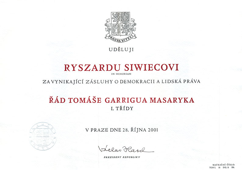 The Tomáš Garrigue Masaryk Order (the Czech Republic, 2001)