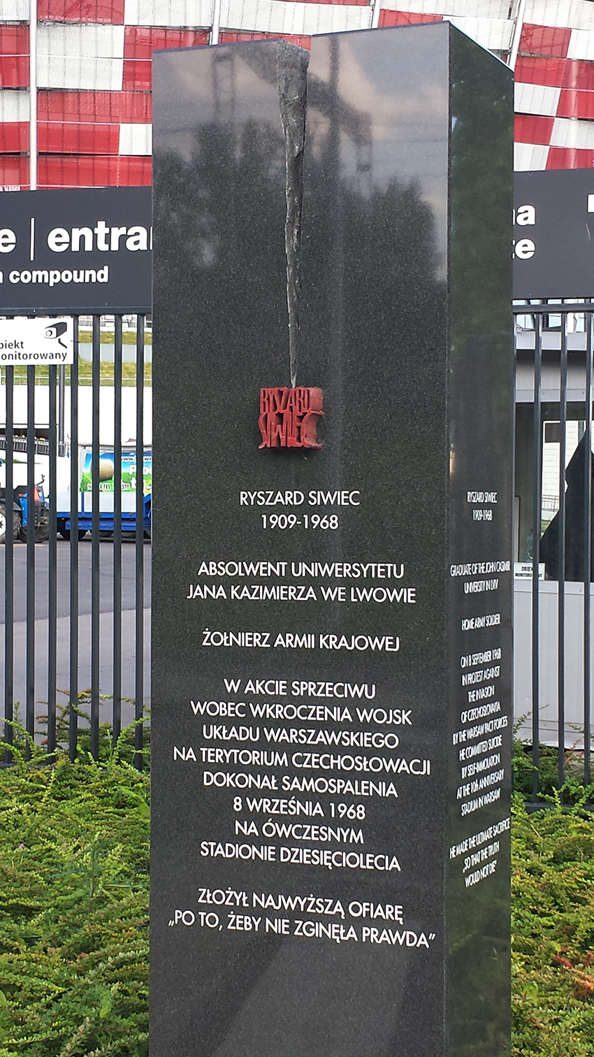 The contemporary obelisk in Ryszard Siwiec Street next to the National Stadium